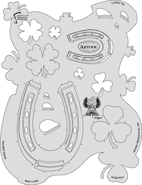 ARTOOLPRODUCTS ARTOOL FREEHAND AIRBRUSH TEMPLATE BLTFX4 LUCKY FX