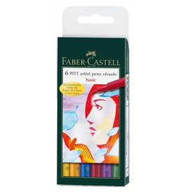 FABER CASTELL PITT ARTIST PEN BRUSH SET/6 BASIC COLOURS