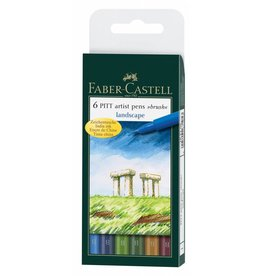 FABER CASTELL PITT ARTIST PEN BRUSH SET/6 LANDSCAPE COLOURS
