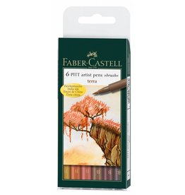 FABER CASTELL PITT ARTIST PEN BRUSH SET/6 TERRA EARTH COLOURS