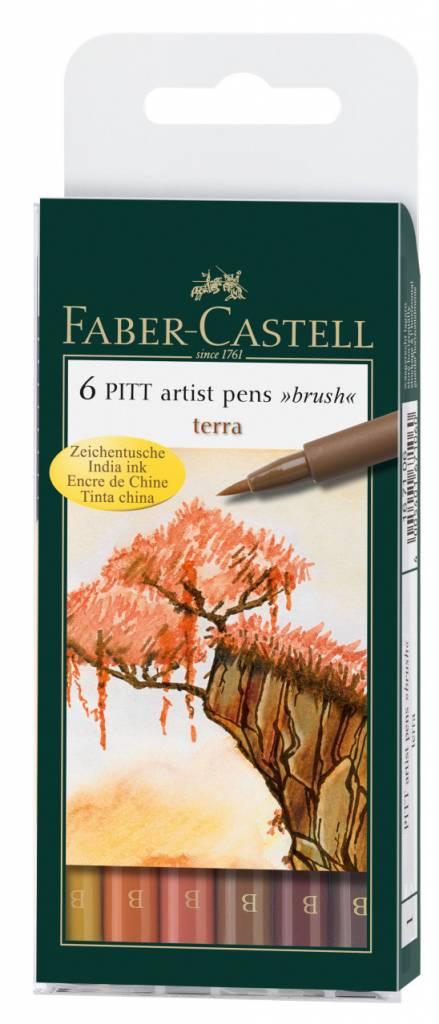FABER CASTELL PITT ARTIST PEN BRUSH SET/6 TERRA EARTH COLOURS