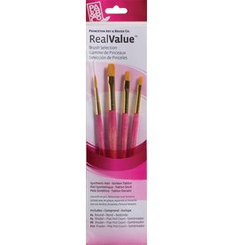 PRINCETON PRINCETON REALVALUE BRUSH SET NO. 9181 SH GOLD TAKLON
