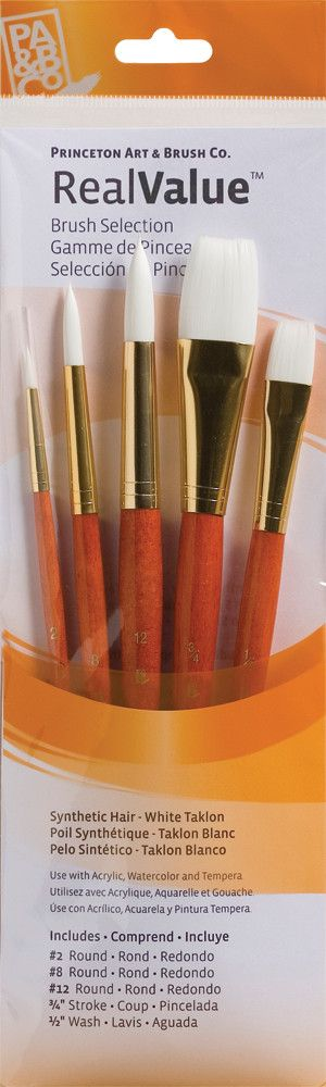 PRINCETON PRINCETON REALVALUE BRUSH SET NO. 9152 SH WHITE TAKLON