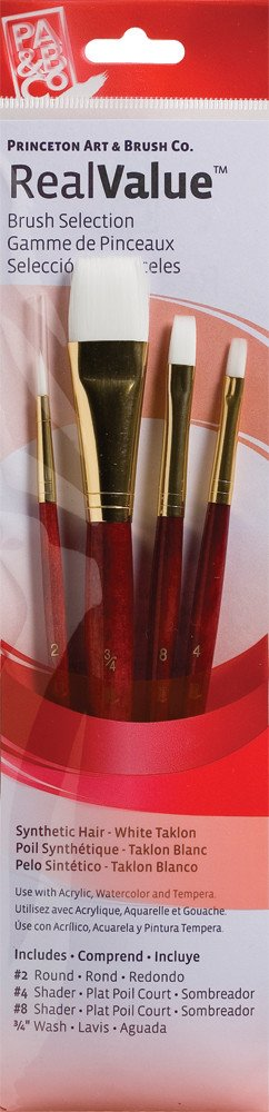 PRINCETON PRINCETON REALVALUE BRUSH SET NO. 9125 SH WHITE TAKLON