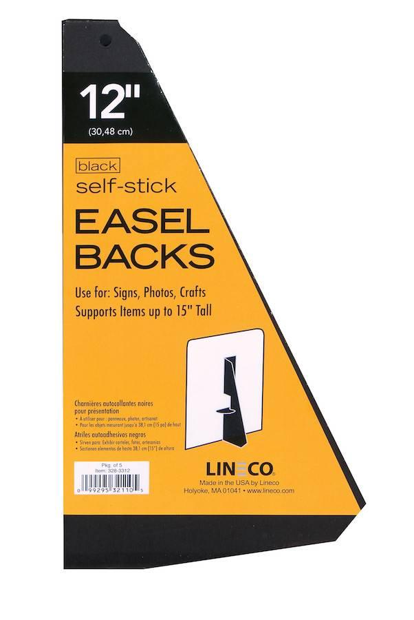 LINECO LINECO SELF-STICK EASEL BACKS BLACK 12 INCH 5/PK