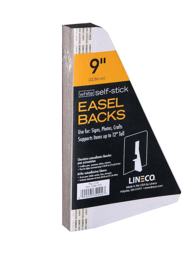 LINECO LINECO SELF-STICK EASEL BACKS WHITE 9 INCH 25/PK