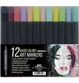 PRO ART PRO ART MARKERS SET/12 BASIC COLOURS NON-TOXIC