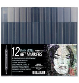 PRO ART PRO ART MARKERS SET OF 12 GRAY SCALE NON-TOXIC