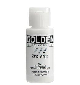 GOLDEN GOLDEN FLUID ACRYLIC ZINC WHITE 1OZ