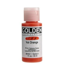 GOLDEN GOLDEN FLUID ACRYLIC VAT ORANGE 1OZ