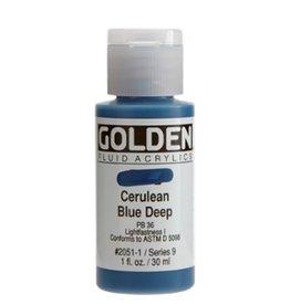 GOLDEN GOLDEN FLUID ACRYLIC CERULEAN BLUE DEEP 1OZ