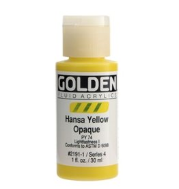 GOLDEN GOLDEN FLUID ACRYLIC HANSA YELLOW OPAQUE 1OZ