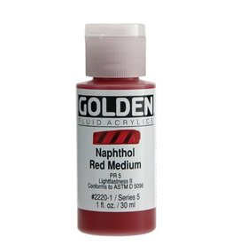 GOLDEN GOLDEN FLUID ACRYLIC NAPHTHOL RED MEDIUM 1OZ