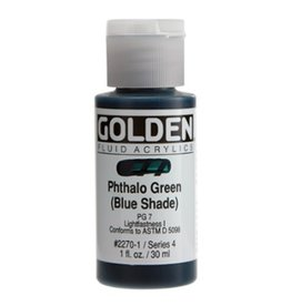 GOLDEN GOLDEN FLUID ACRYLIC PHTHALO GREEN (BLUE SHADE) 1OZ