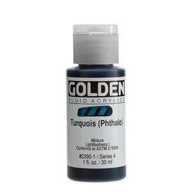 GOLDEN GOLDEN FLUID ACRYLIC TURQUOISE (PHTHALO) 1OZ