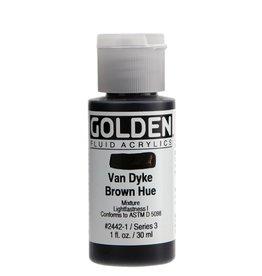 GOLDEN GOLDEN FLUID ACRYLIC VAN DYKE BROWN HUE 1OZ