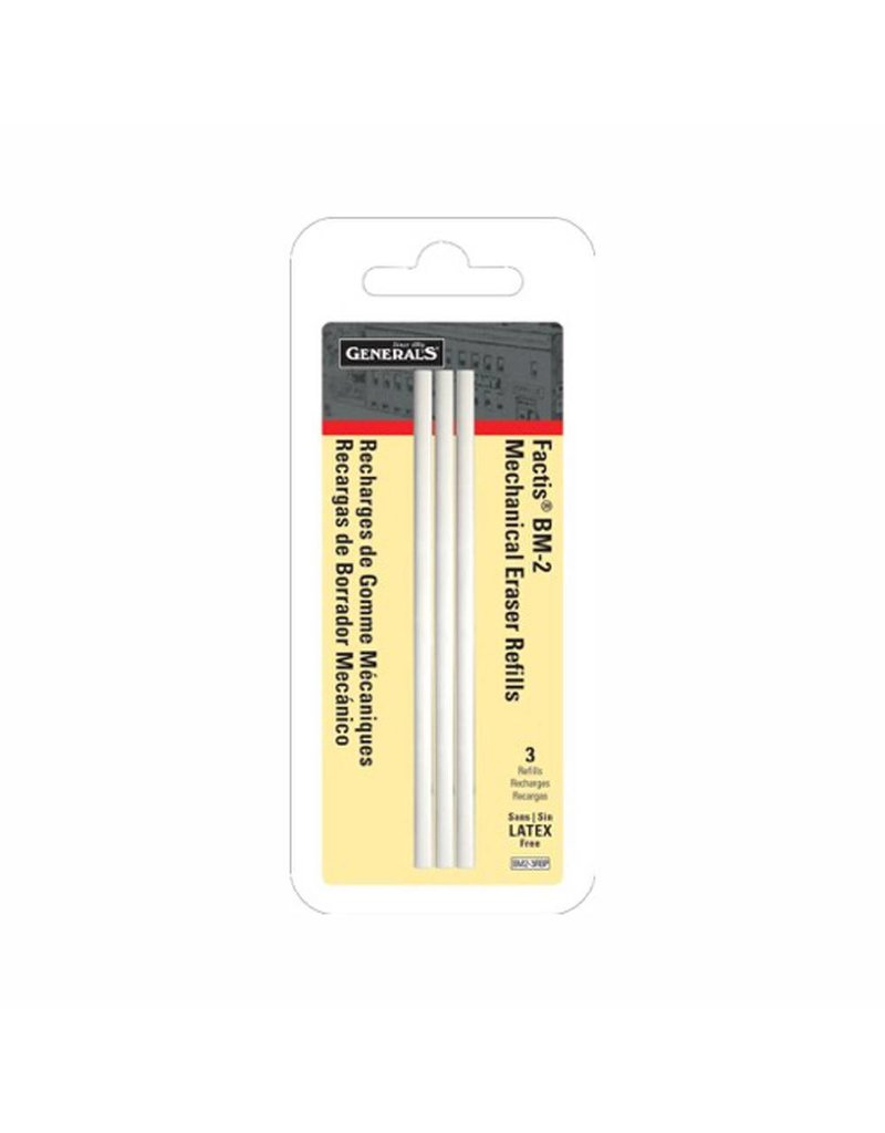 GENERAL PENCIL GENERALS FACTIS BM-2 ERASER REFILL 3/PK