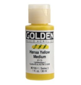 GOLDEN GOLDEN FLUID ACRYLIC HANSA YELLOW MEDIUM 4OZ