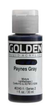 GOLDEN GOLDEN FLUID ACRYLIC PAYNES GRAY 4OZ