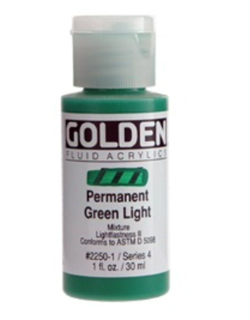 GOLDEN GOLDEN FLUID ACRYLIC PERMANENT GREEN LIGHT 4OZ