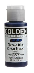 GOLDEN GOLDEN FLUID ACRYLIC PHTHALO BLUE (GREEN SHADE) 4OZ
