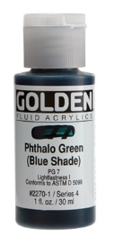 GOLDEN GOLDEN FLUID ACRYLIC PHTHALO GREEN (BLUE SHADE) 4OZ