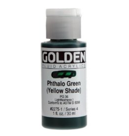 GOLDEN GOLDEN FLUID ACRYLIC PHTHALO GREEN (YELLOW SHADE) 4OZ
