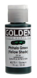 GOLDEN GOLDEN FLUID ACRYLIC PHTHALO GREEN (YELLOW SHADE) 4OZ