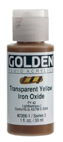GOLDEN GOLDEN FLUID ACRYLIC TRANSPARENT YELLOW IRON OXIDE 4OZ