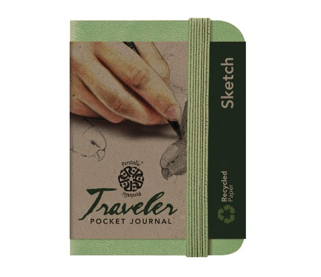 PENTALIC PENTALIC TRAVELER POCKET JOURNAL SKETCH 4X3 OLIVE GREEN