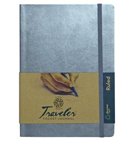 PENTALIC PENTALIC TRAVELER POCKET JOURNAL RULED 8X6 METALLIC SILVER
