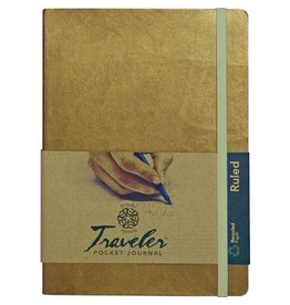 PENTALIC PENTALIC TRAVELER POCKET JOURNAL RULED 8X6 METALLIC GOLD