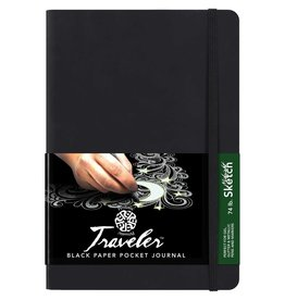PENTALIC PENTALIC TRAVELER POCKET JOURNAL MIDNIGHT SKETCH BLACK PAPER 4X3