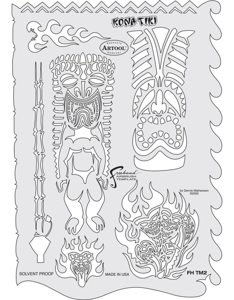 ARTOOLPRODUCTS ARTOOL FREEHAND AIRBRUSH TEMPLATE TM2 KONA TIKI