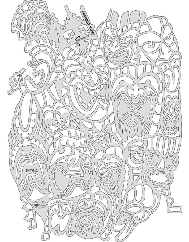 ARTOOLPRODUCTS ARTOOL FREEHAND AIRBRUSH TEMPLATE TM12 FREAKIN TIKIS
