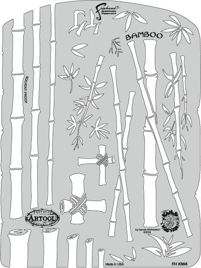 ARTOOLPRODUCTS ARTOOL FREEHAND AIRBRUSH TEMPLATE KM4 BAMBOO