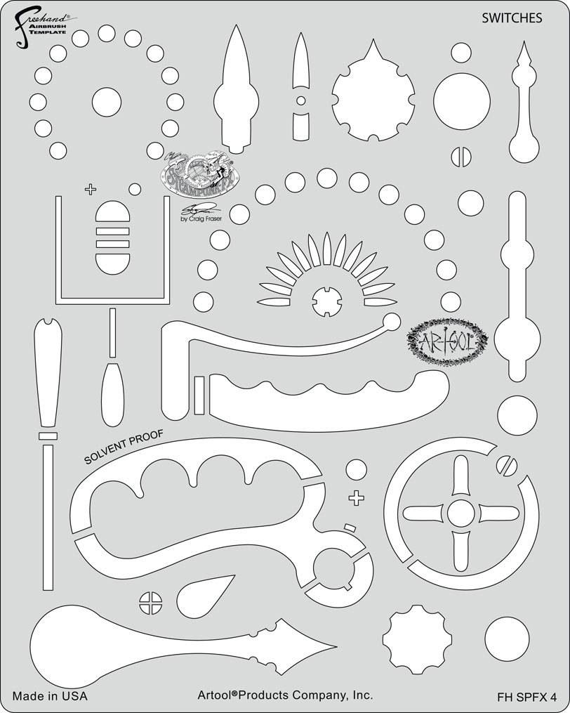 ARTOOLPRODUCTS ARTOOL FREEHAND AIRBRUSH TEMPLATE SPFX4 SWITCHES