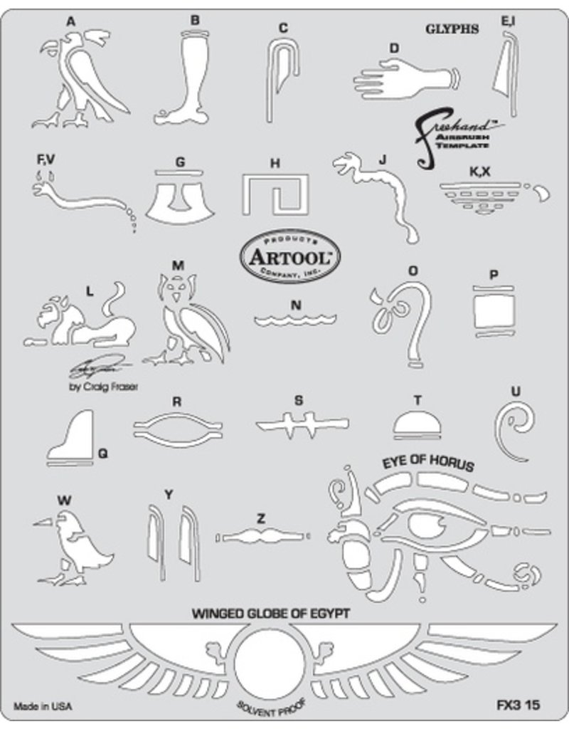 ARTOOLPRODUCTS ARTOOL FREEHAND AIRBRUSH TEMPLATE FX315 GLYPHS