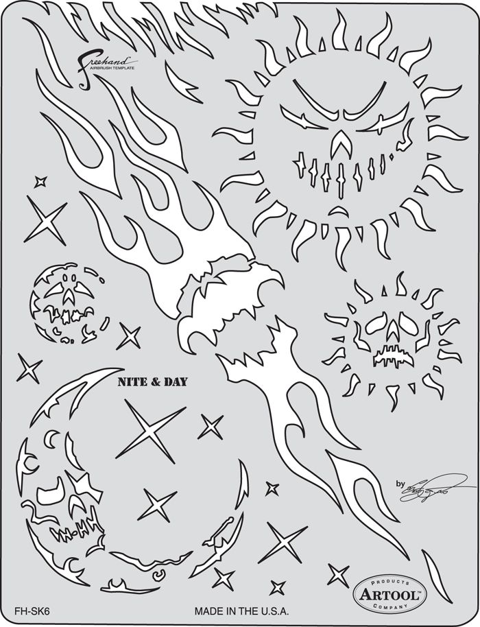 ARTOOLPRODUCTS ARTOOL FREEHAND AIRBRUSH TEMPLATE SK5 NITE & DAY