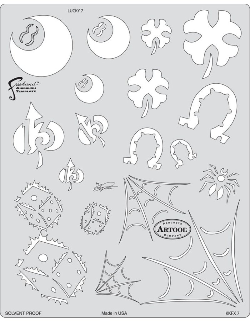 ARTOOLPRODUCTS ARTOOL FREEHAND AIRBRUSH TEMPLATE KKFX17 LUCKY 7
