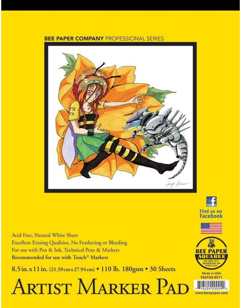 BEE PAPER BEE PAPER ARTIST MARKER PAD 8.5X11 110LB  30SHT