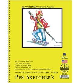 BEE PAPER BEE PAPER PEN SKETCHERS PAD 8.5X11 70LB  50SHT