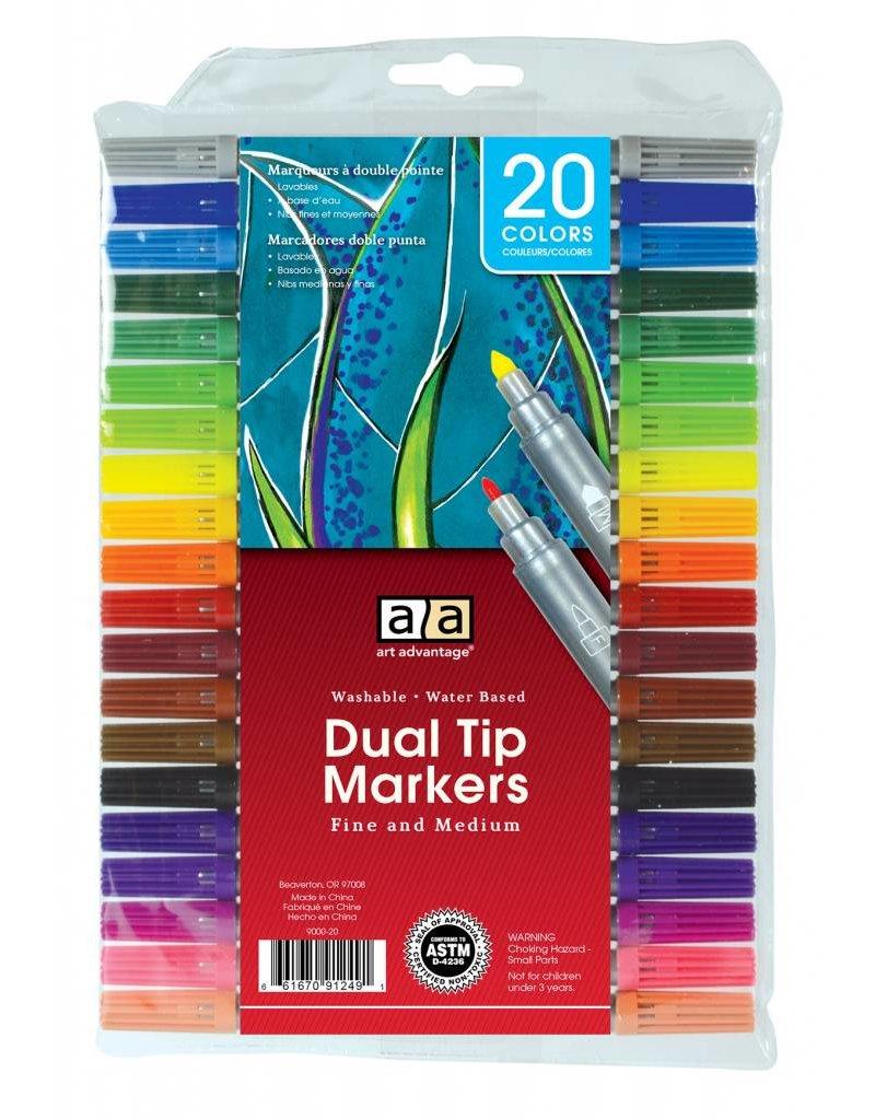 ART ADVANTAGE ART ADVANTAGE WASHABLE DUAL TIP MARKER SET/20 COLOURS