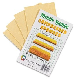 COLOR WHEEL COMPANY MIRACLE SPONGES COMPRESSED SPONGES 3X4 INCH 4/PK   3460