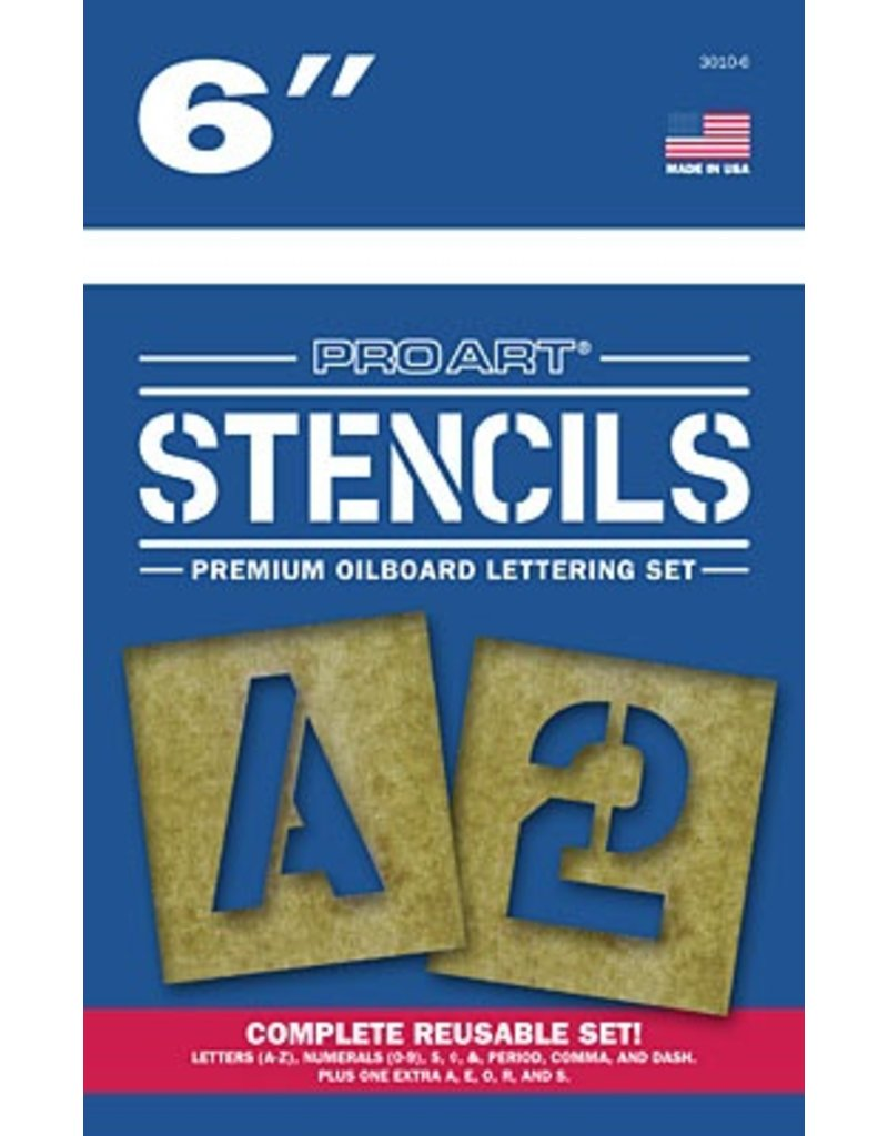 PRO ART PRO ART STENCILS LETTERS AND NUMBERS 6''