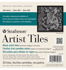 STRATHMORE STRATHMORE ARTIST TILES SERIES 400 COAL BLACK 6X6 30 TILES