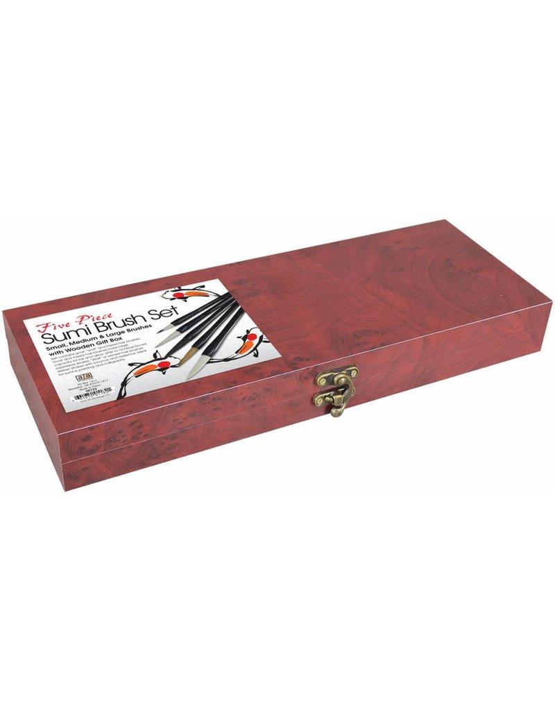 ART ADVANTAGE SUMI BRUSH SET/5 WITH WOOD BOX    ART-S8732