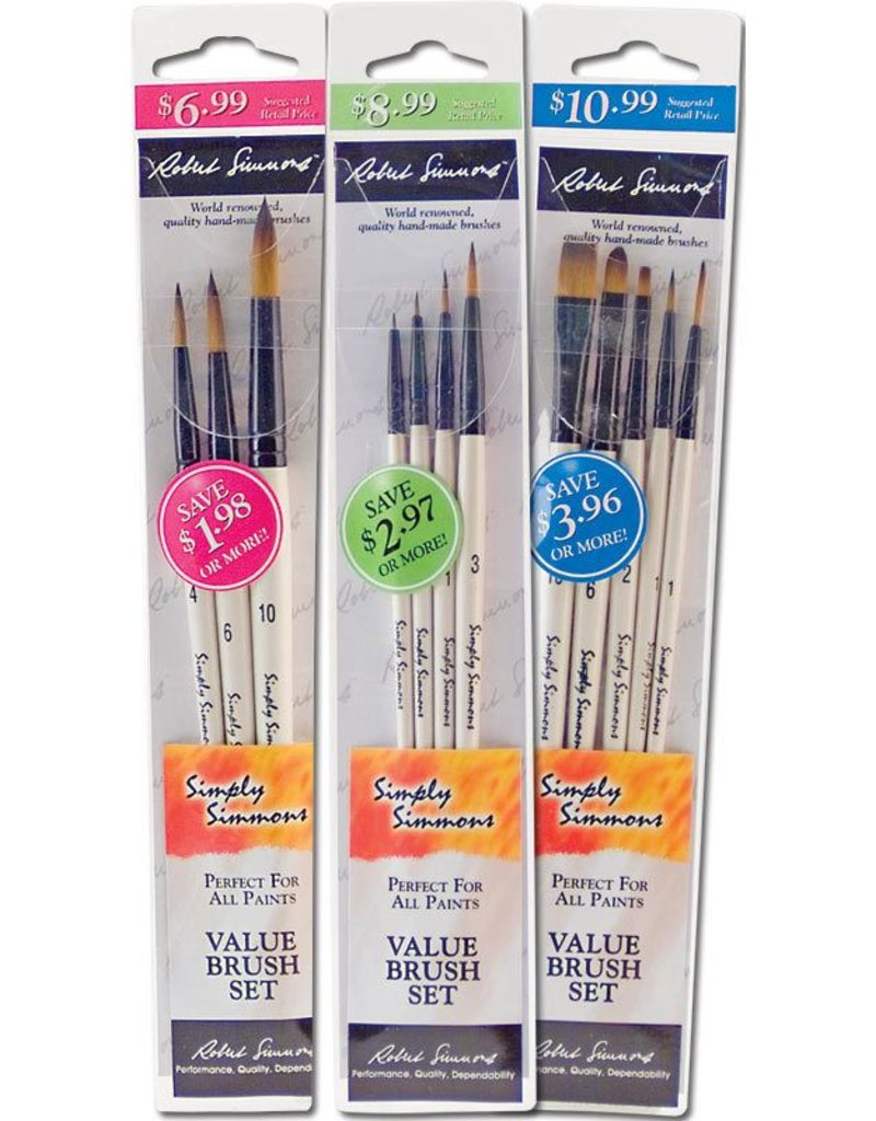 DALER ROWNEY SIMPLY SIMMONS VALUE BRUSH SET/5 LONG HANDLE SYNTHETIC
