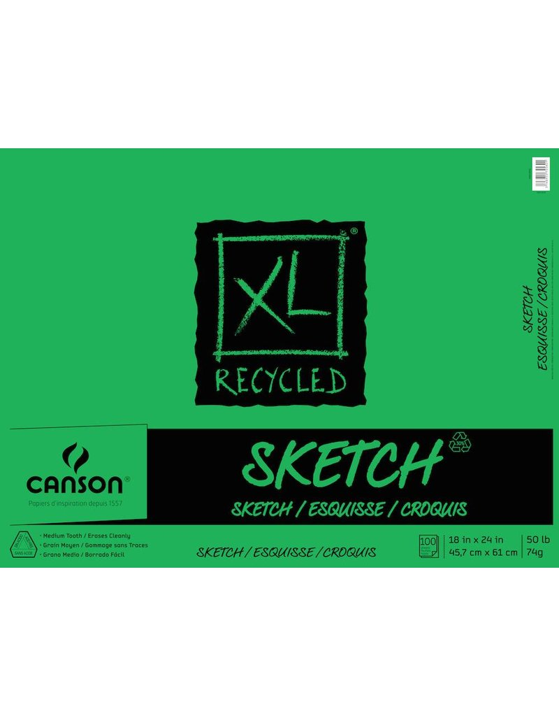 CANSON CANSON XL RECYCLED SKETCH PAD 50LB TAPE BOUND  18x24