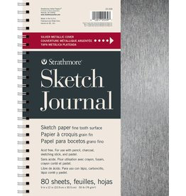 "STRATHMORE STRATHMORE ARTIST PAPERS METALLIC SILVER 9X12"" SKETCH JOURNAL 80 SHEET BOOK"